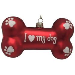 Brighten the Season Pets Glass I Love My Dog Bone Ornament