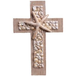 Brighten the Season Sandy Shore Sea Shell Cross Wall Decor