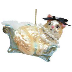Brighten the Season Pets Glass Cat on a Sofa Ornament