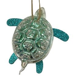 Brighten the Season Brights Blue Glitter Turtle Ornament