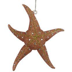 Brighten the Season Brights Coral Glitter Starfish Ornament