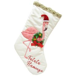 Brighten the Season Palmingo Posh Velvet Flamingo Stocking