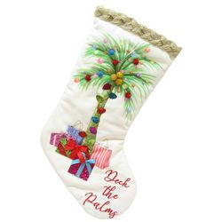 Brighten the Season Palmingo Posh Velvet Palm Stocking
