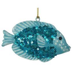 Brighten the Season Brights Blue Sequin Fish Ornament