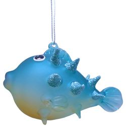 Brighten the Season Brights Blue Swellfish Glass Ornament