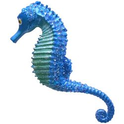 Brighten the Season Brights Blue Glitter Seahorse Ornament
