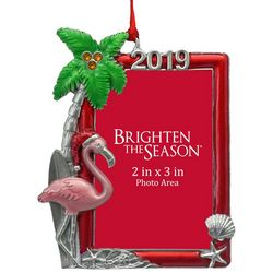 Brighten the Season 2019 Flamingo Frame Ornament