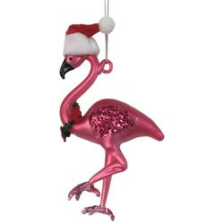 Brighten the Season Flamingo w/Santa Hat Ornament
