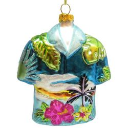 Brighten the Season Brights Blue Hawaiin Shirt Ornament