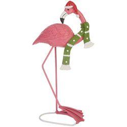 Brighten the Season Holiday Santa Hat Flamingo Figurine