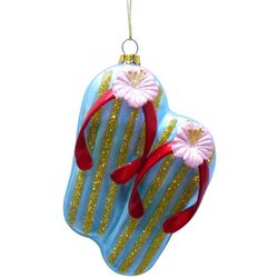 Brighten the Season Florida Bealls Glass Flip Flop Ornament