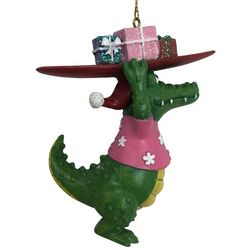 Brighten the Season Gator with Surf Board Ornament