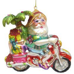Brighten The Season Santa Riding Motorcycle Ornament