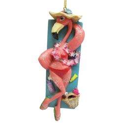 Brighten the Season Flamingo Sunbathing Ornament
