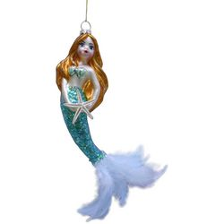 Brighten the Season Glass Ivory Mermaid Ornament