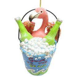 Brighten the Season Flamingo in Bucket Ornament