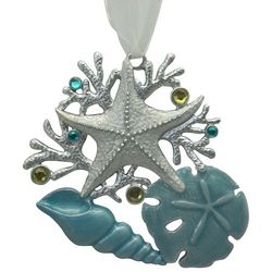 Brighten the Season Sandy Shore Shell With Coral Ornament