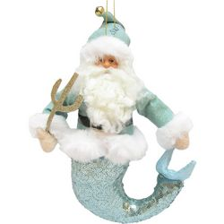Brighten the Season Fairytale Plush Santa Mermaid Ornament