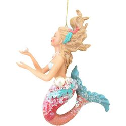 Brighten the Season Mermaid Holding Pearl Ornament