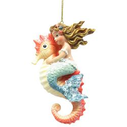 Brighten the Season Fairytale Mermaid on Seahorse Ornament