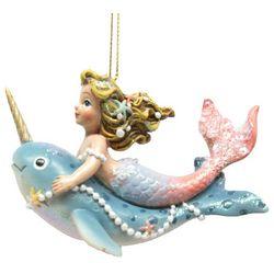 Brighten the Season Fairytale Mermaid on Narwhal Ornament