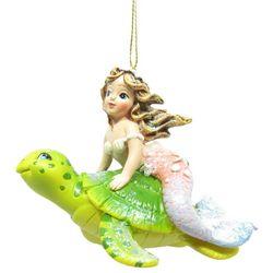 Brighten the Season Fairytale Mermaid on Sea Turtle Ornament