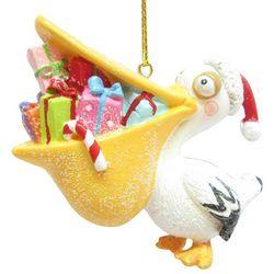 Brighten the Season Brights Pelican with Santa Hat Ornament