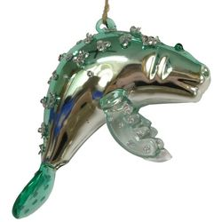 Brighten the Season Fairytale Glass Blue Manatee Ornament