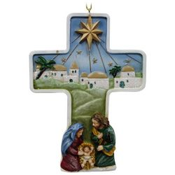 Brighten the Season Sandy Shore Holy Family Cross Ornament