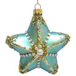 Brighten the Season Brights Glass Blue Starfish Ornament