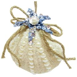 Brighten the Season Sandy Shore Beaded Shell Ornament