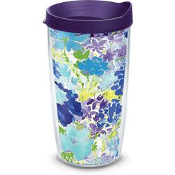 Tervis 16 oz. Purple Floral Travel Tumbler With Lid