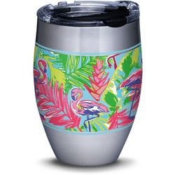 Tervis 12 oz. Stainless Steel Bright Flamingo Wine Tumbler