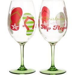 Brighten the Season Flip Flop 2-pc. Wine Goblet Set