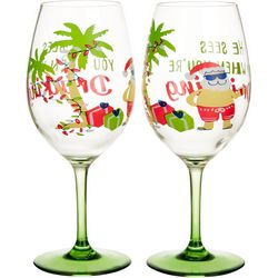 Brighten the Season He Sees You 2-pc. Wine Goblet Set