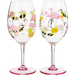 Tropix 2-pc. Flamingo Wine Goblet Set