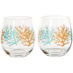 Tropix 2-pc. Coral Stemless Wine Goblet Set