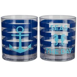 Tropix 2-pc. Anchor & Seahorse Double Old Fashioned Glasses