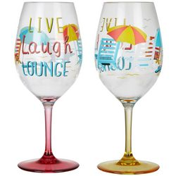 Tropix 2-pc. Live Laugh Lounge Wine Goblet Set