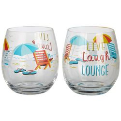 Tropix 2-pc. Live Laugh Lounge Stemless Goblet Set