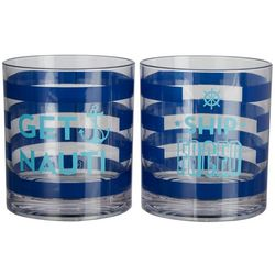 Tropix 2-pc. Get Nauti & Ship Faced DOF Glass Set