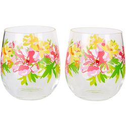 Tropix 2-pc. Pink Floral Stemless Wine Glass Set