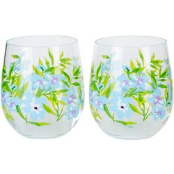 Tropix 2-pc. Blue Floral Stemless Wine Glass Set