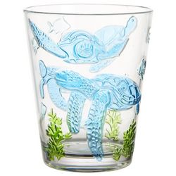 Tropix 15 oz. Embossed Sea Turtle Double Old Fashioned Glass
