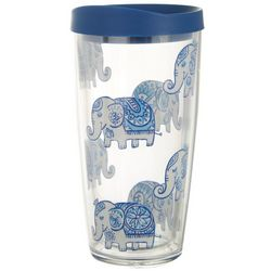 Tropix 16 oz. Blue Elephant Travel Tumbler