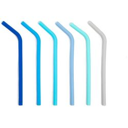 Manna 6-pc. Blue Silicone Reusable Drinking Straws