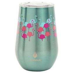 Manna 12 oz. Stainless Steel Flamingo Stemless Wine Tumbler