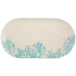 Coastal Home Blue Coral Oval Platter
