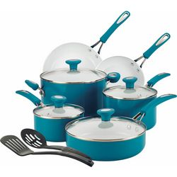 SilverStone 12-pc. Ceramic Teal Cookware Set