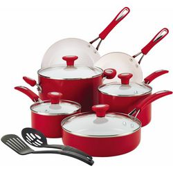 SilverStone 12-pc. Ceramic Red Cookware Set